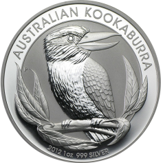"Серебряная монета Австралии 1 Dollar ""Кукабарра"" 2012г"