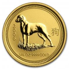 """Золотая монета """"Лунный календарь 1 - Год Собаки"""" 2006 год 1/4 унции"""