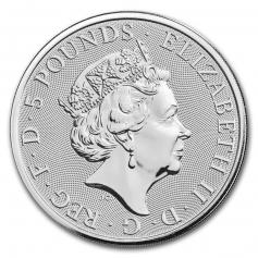 """Серебряная монета 5 фунтов """"Черный бык"""", 2017 г., 62.2 гр. Ag9999"""