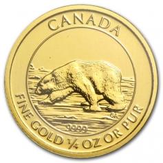 """Золотая монета Канады """"Полярный медведь"""" 10 долларов 2013, Au999, 1/4 Oz"""
