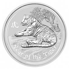 Серебряная монета Австралии 1 доллар Год Тигра 1 унция (oz) 2010 год