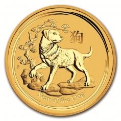 """Золотая монета Австралии """"Год Собаки"""" 15,55 грамм 2018 год"""