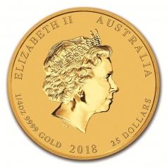 """Золотая монета Австралии """"Год Собаки"""" 1/4 унции 2018 год"""