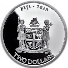 """Серебряная монета """"Черепаха Таку"""", Фиджи, 2 доллара"""