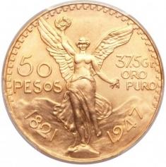 Золотая инвестиционная монета Мексики 50 Песо 1947 год, 37,5 грамм