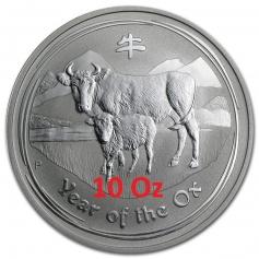 Серебряная монета 10 долларов Год Быка 2009 года 311 г
