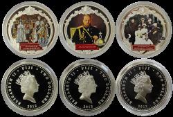 """Набор из 3 серебряных монет """"Александр 3"""" 2 доллара, 2012 год, 31,1 грамм каждая, Фиджи"""