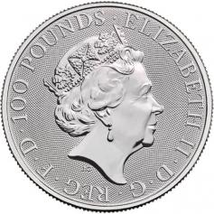"""Платиновая монета 100 фунтов """"Лев Мортимера"""", 2021 г., 31.1 гр. Pt999 Звери королевы"""