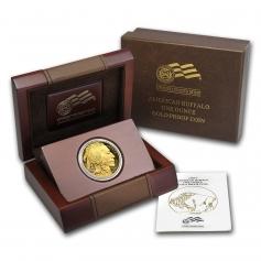 """Золотая монета """"Бизон Баффало"""" или """"Голова индейца"""", 50 долларов, PROOF, 2009 год"""