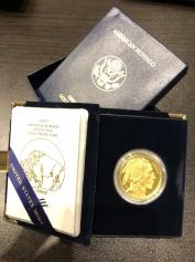 """Золотая монета """"Бизон Баффало (Буффало)"""" или """"Голова индейца"""", 50 долларов, PROOF (Пруф), 2009 год"""