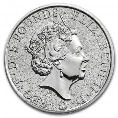 "Серебряная монета 5 фунтов ""Лев Англии"", 2016 г., 62.2 гр. Ag9999"