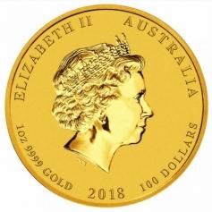 """Золотая монета Австралии 100 долларов Лунар-2 """"Год Собаки"""" 2018 год 1oz"""