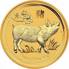 """Золотая монета Австралии 100 Dollars  Лунный календарь 2-""""Год Свиньи"""" 2019 год 1oz"""