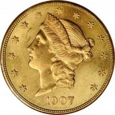 """Золотая монета """"Голова Свободы"""" 20 долларов, 1877-1907, США"""