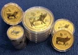 """Золотая монета Австралии 25 Dollars  Лунный календарь 2-""""Год Свиньи"""" 2019 год 0,25 oz"""