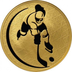 """Золотая монета """"Хоккей"""", 200 рублей, 2010 год"""