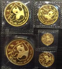 """Набор золотых монет Китая """"Панда"""" 1986 год"""