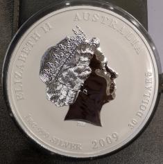 Серебряная монета 30 долларов Год Быка 2009 года 1000 г