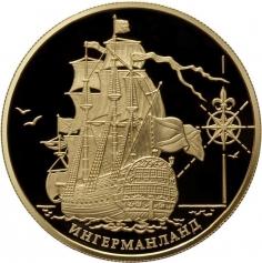 "Золотая монета ""Корабль ""Ингерманланд"" ММД 155.5 грамм 1000 рублей 2012 год"