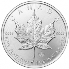 "Платиновая монета ""Кленовый лист"", Canadian Platinum Maple Leaf 50 долларов, 1oz"