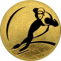 """Золотая монета """"Конькобежный спорт"""", 200 рублей, 2009 год"""
