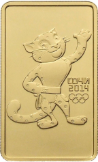 Золотая монета (Леопард, Мишка, Зайка) Сочи, ММД, 100 рублей (1/2 Oz)