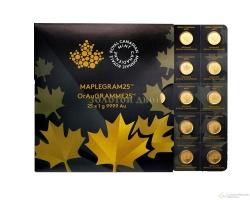 "Золотая монета Канады ""Кленовый лист"", Canadian Gold Maple Leaf 50 центов, 25шт по 1 грамм"
