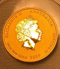 """Золотая монета Австралии 25 Dollars  Лунный календарь 1-""""Год Быка"""" 2009 год"""