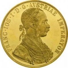 Золотая монета 4 Дуката, Новодел, Австрия.Modern re-strikes 4 Ducat.