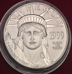 """Платиновая монета 100 долларов """"Американский Орел LIBERTY"""", 1999 г., 31.1 гр. Pt999"""