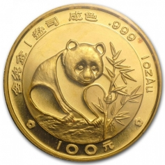 "Золотая монета Китая ""Панда"" 1 унция (31,1 грамм) 1988 год"