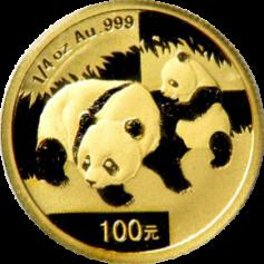 """Золотая монета Китая """"Панда"""", 100 юаней 1/4 унции грамм разные года"""