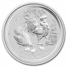 "Серебряная монета Австралии ""Лунный календарь 2-год Петуха"" 31,1 грамм 2017 год"