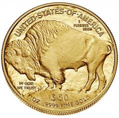 """Золотая монета """"Бизон Баффало"""" или """"Голова индейца"""", 50 долларов"""