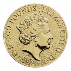 "Золотая монета Великобритании ""Лев Англии"" 31,1 грамм 2016 год"