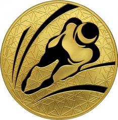 "Золотая монета ""Прыжки с трамплина"", 200 рублей, 2009 год"