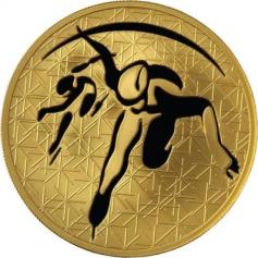 "Золотая монета ""Шорт-трек"", 200 рублей, 2010 год"