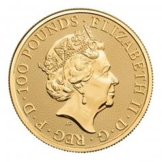 """Золотая монета Великобритании """"Черный Бык"""" 100 фунтов 2018 года 31,1 г"""