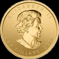 """Золотая монета """"Воющий волк"""", Canadian Howling Wolf  200 долларов"""